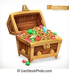 Treasure chest. Gems and gold coins. 3d vector icon