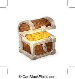 Treasure chest, illustration, isolated on white background