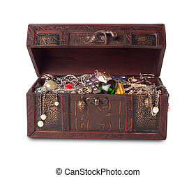 Treasure chest isolated on white background with clipping patch