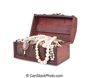 treasure chest isolated on white background with clipping path