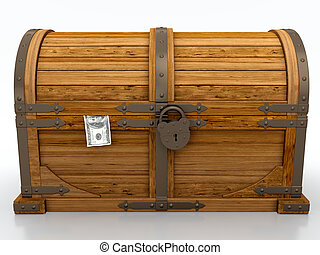 Treasure chest - Locked treasure chest isolated on white...