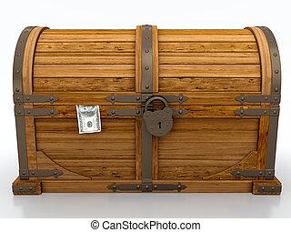 Locked treasure chest isolated on white background