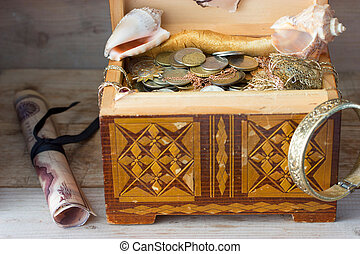 Treasure chest, old coins