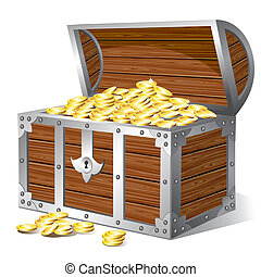 Old wooden treasure chest with golden coins