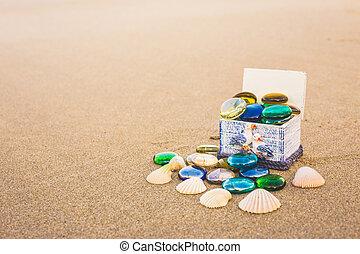 Treasure chest on a beach