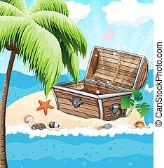 Treasure Chest on sandy island