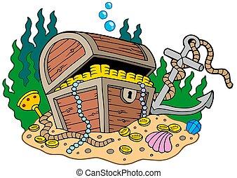 Treasure chest on sea bottom - isolated illustration.