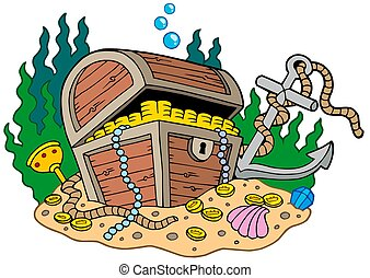 Treasure chest on sea bottom - isolated illustration.