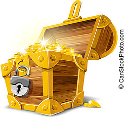 Opened antique treasure chest. Vector illustration.