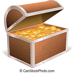 Treasure chest. - Opened treasure chest with golden coins...