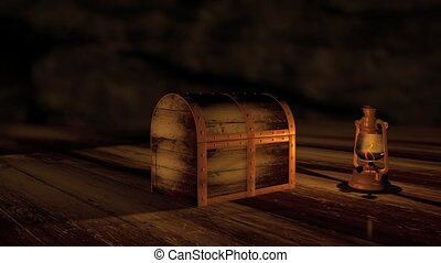 Computer generated animation of a wooden treasure chest opening to green screen. High definition 1080p.