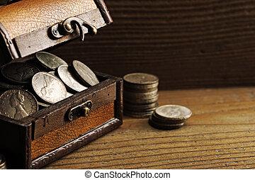 Treasure chest  - Treasure chest, old coins