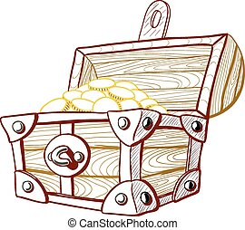 Treasure Chest - Pirate treasure chest with the lid open and...