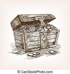 Treasure chest sketch style vector illustration