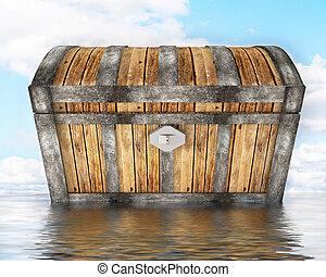 treasure chest standing in water