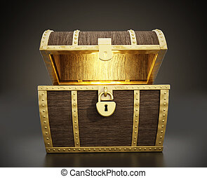 Treasure Chest - Wooden glowing treasure chest full of...