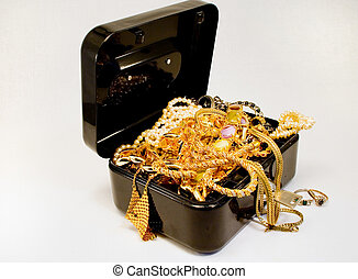 Treasure chest - A treasure chest filled with jewelry