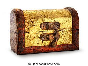 Treasure chest - Closed treasure chest with golden...