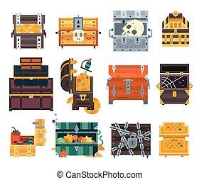 Treasure chest vector illustration.