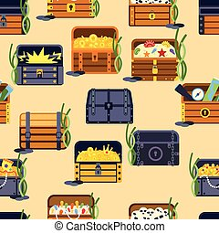 Treasure chest vector seamless patetrn