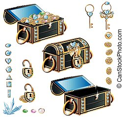treasure chest with blue decoration set