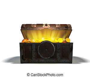 Treasure chest with gold on white background