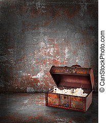 treasure chest with jewelry inside