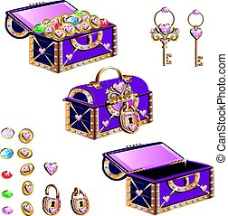 treasure chest with pink jewelry