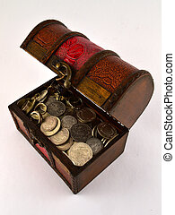 Treasure Chest With Silver coins 2