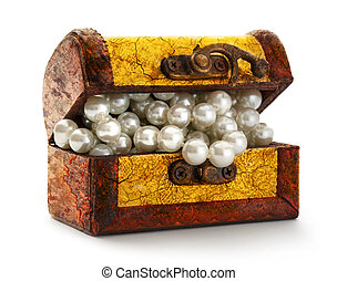 Treasure chest with white pearl