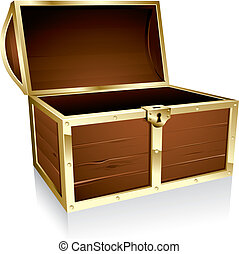 Wooden treasure chest loaded with golden coins