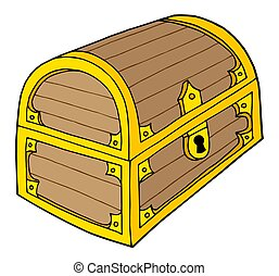 Wooden treasure chest with lock - isolated illustration.