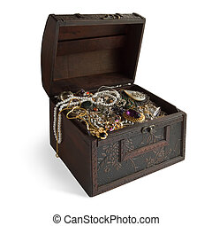 Wooden treasure chest with valuables, clipping path