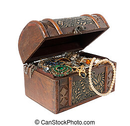 Wooden treasure chest with valuables, isolated with clipping path