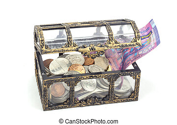 Treasure coffer - Coins and bank note in the coffer