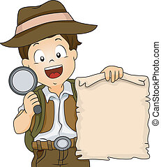 Treasure Hunt Boy - Illustration of a Boy in Camping Gear...