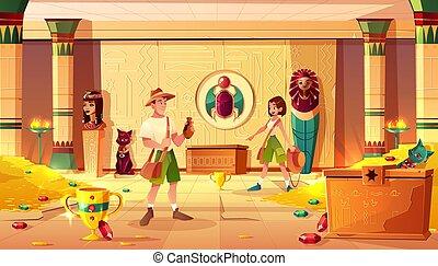 Treasure hunters in egypt pharaoh treasury vector - Exited...