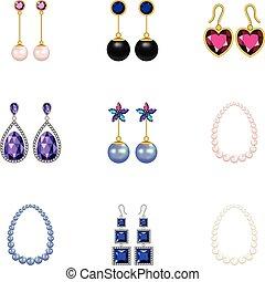 Treasure icons set, cartoon style