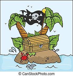 Treasure Island in Sea - Vector