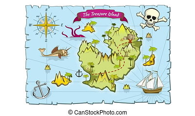 Treasure island map in hand drawn style animation. Sea...