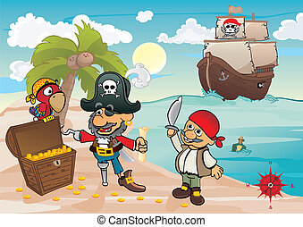 Treasure island - Pirates find chest with gold on the coast