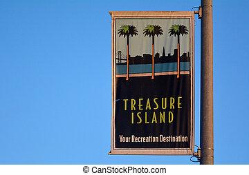 Treasure Island sign in San Francisco California