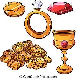 Treasure items - Cartoon treasure jewels. Vector clip art...