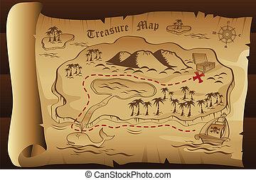 Treasure map - A vector illustration of treasure map