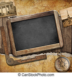 Treasure map, blackboard and old compass. Nautical still...