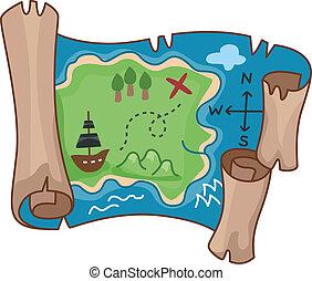 Treasure Map - Illustration of a Treasure Map