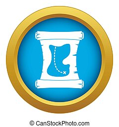 Treasure map icon blue isolated