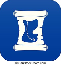 Treasure map icon digital blue