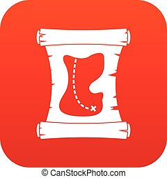 Treasure map icon digital red