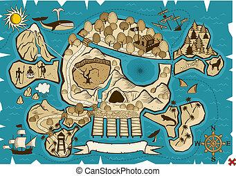 Treasure Map - Map of treasure island in the shape of skull...